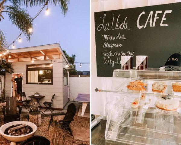 two images: to the left, a person stands in the doorway of a building with a white panel facade, large black-framed window and overhanging roof. the building is surrounded by overhead string lights. to the right, the interior of a cafe with a pastry case and a chalkboard reading