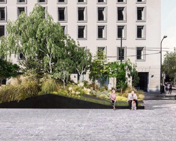 rendering of large park inserted into a city square