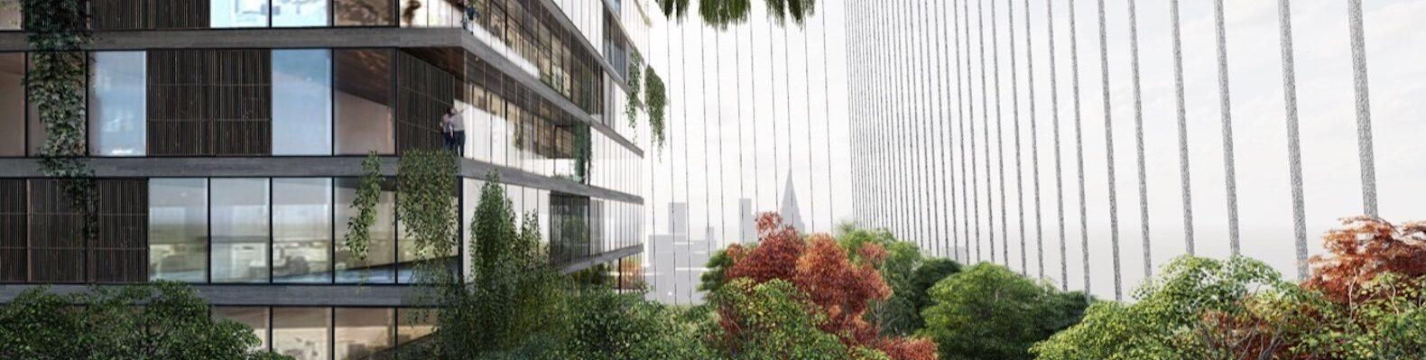 rendering of skyscraper surrounded by plants and steel cables
