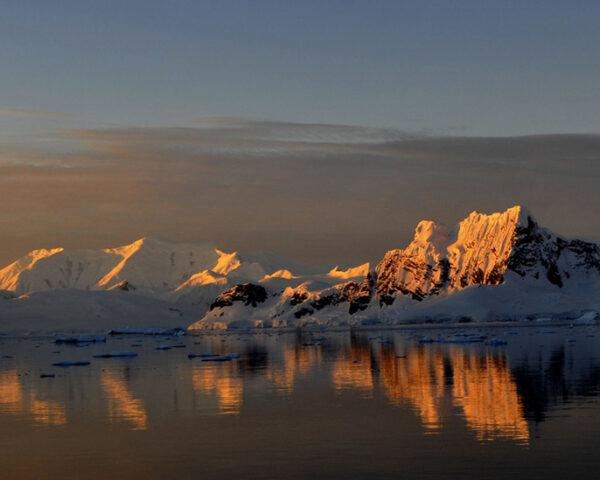 mountains of Antarctica at sunset