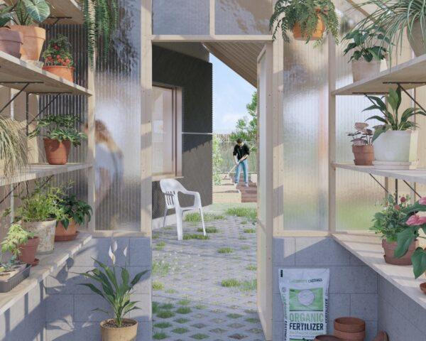 rendering of interior of wood-framed greenhouse