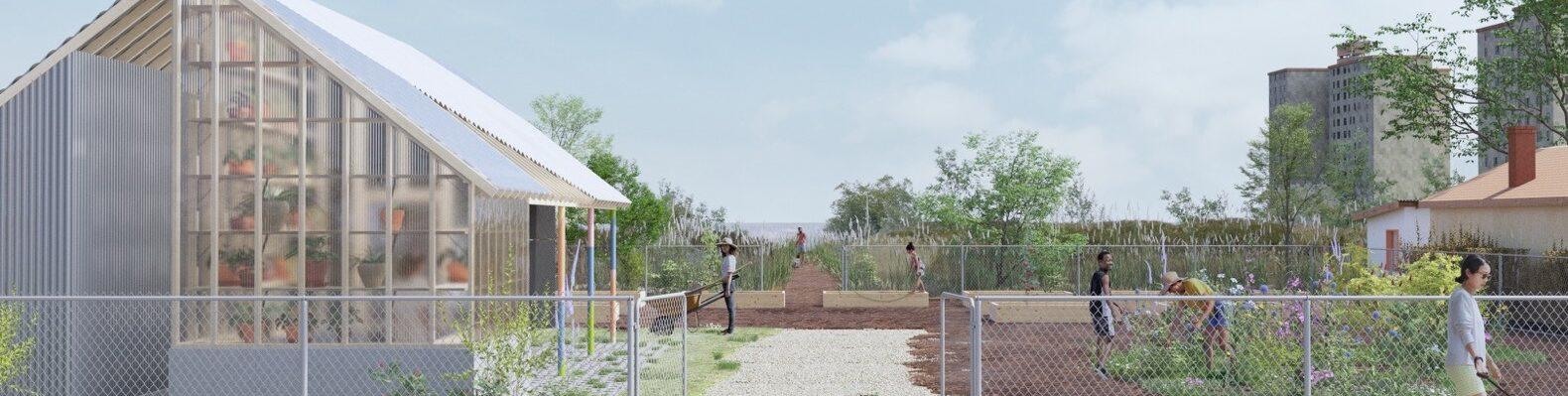 rendering of people working in community garden with a small greenhouse