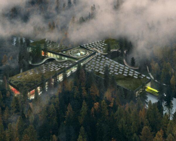 rendering of massive green roof on top of a factory in a forest
