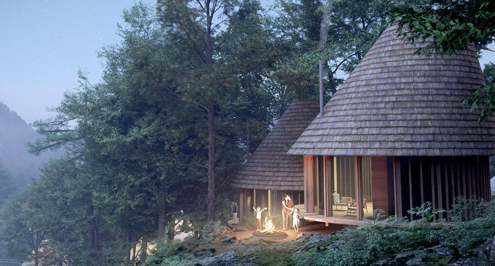 rendering of circular wooden building in a misty forest