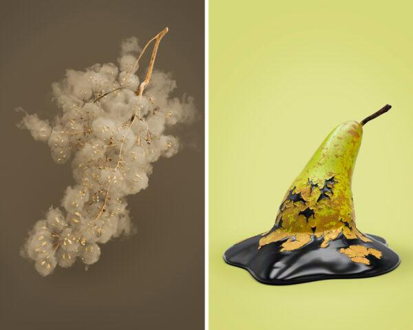 On the left, grapes that look like smog clouds; on the right, pear melting into pool of oil