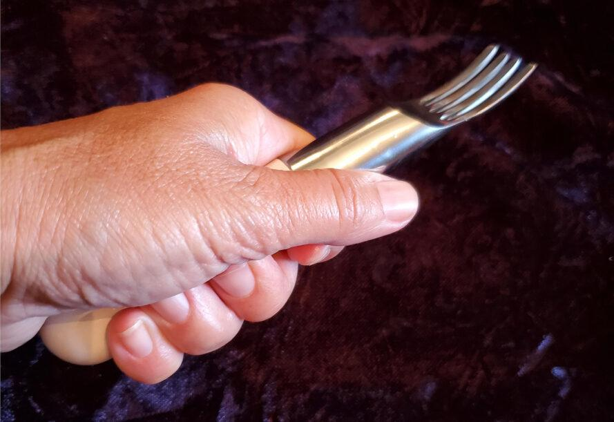 a fork clutched in a hand.
