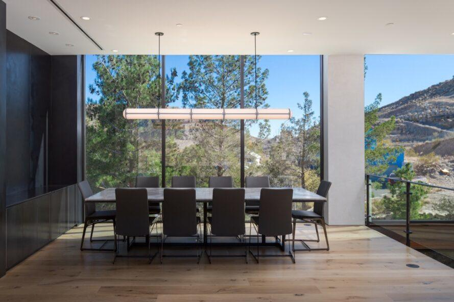 large table in room with glass walls