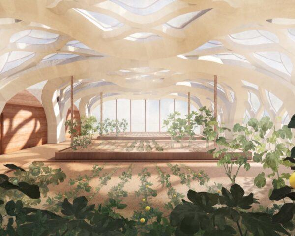 rendering of bamboo greenhouse interior