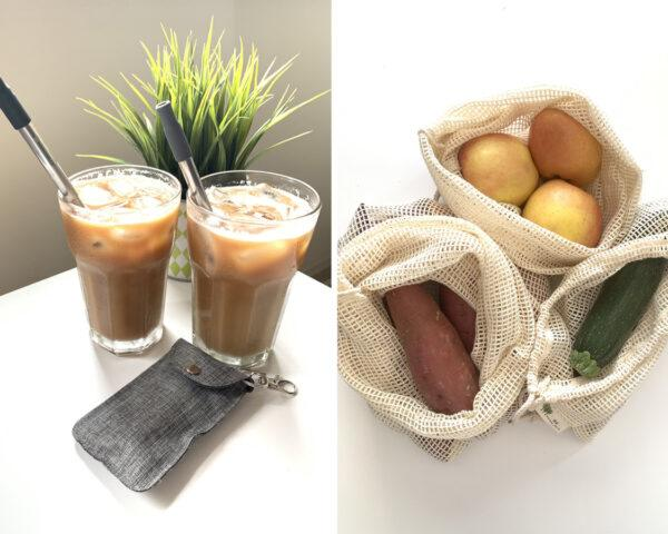 On the left, metal straws in glasses of iced coffee. On the right, fresh vegetables in knit produce bags.