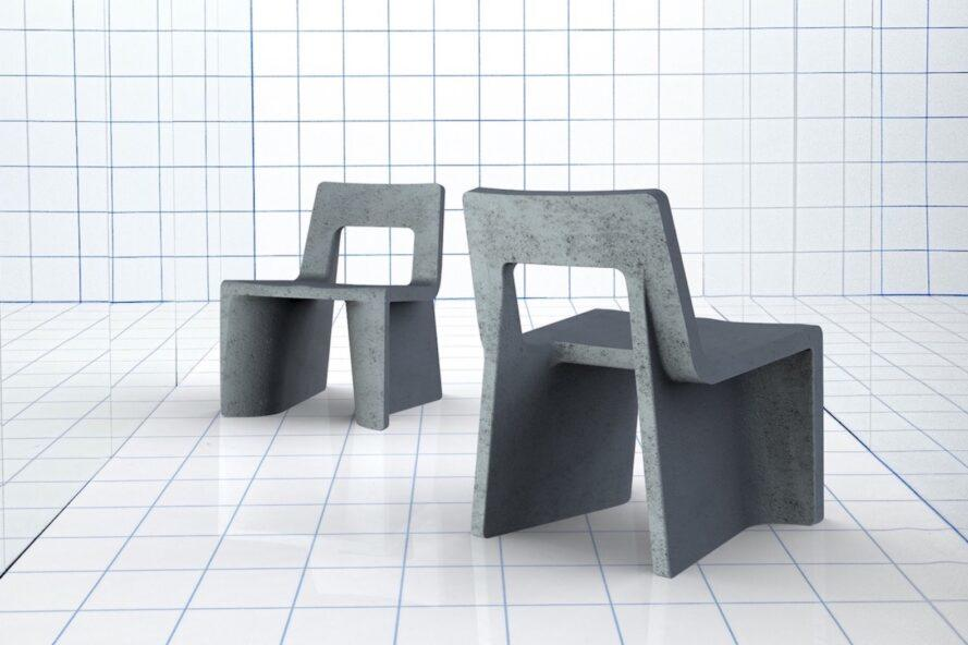 two gray chairs, one set back behind the other, one facing forward and one facing backward. the floor and wall behind the chairs are white squares with black grindlines.