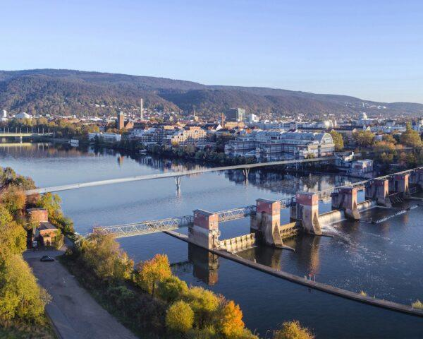 rendering of large bridge over river in Heidelberg, Germany