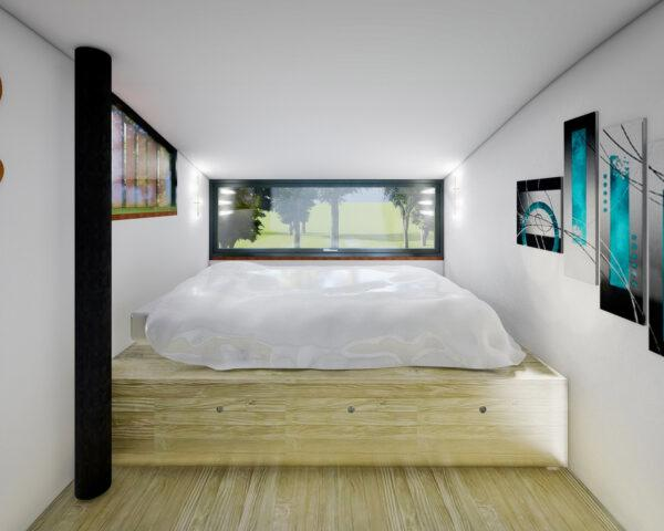 rendering of white bedroom with bed on a wood platform