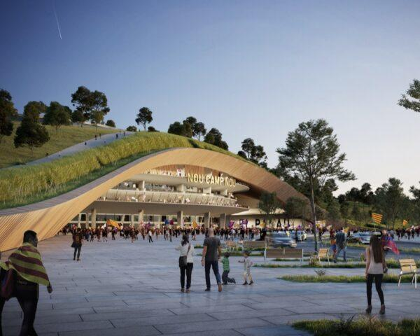 rendering of curved building with a green roof
