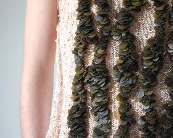 beige dress with seaweed ruffles