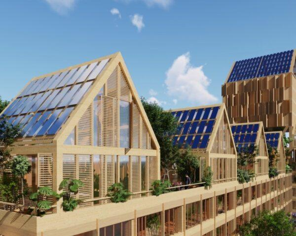 rendering of mass timber buildings with solar panels on gabled roofs