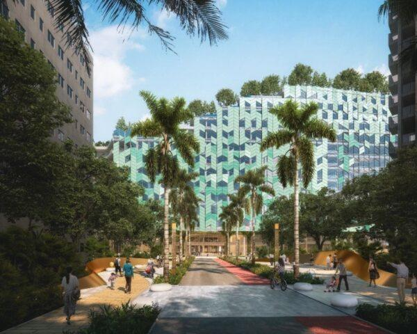 rendering of hospital with herringbone-patterned glass facade
