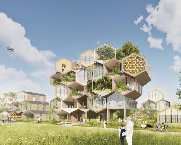 rendering of large building made of hexagonal modules