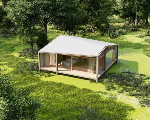 aerial rendering of small home with angled white roof