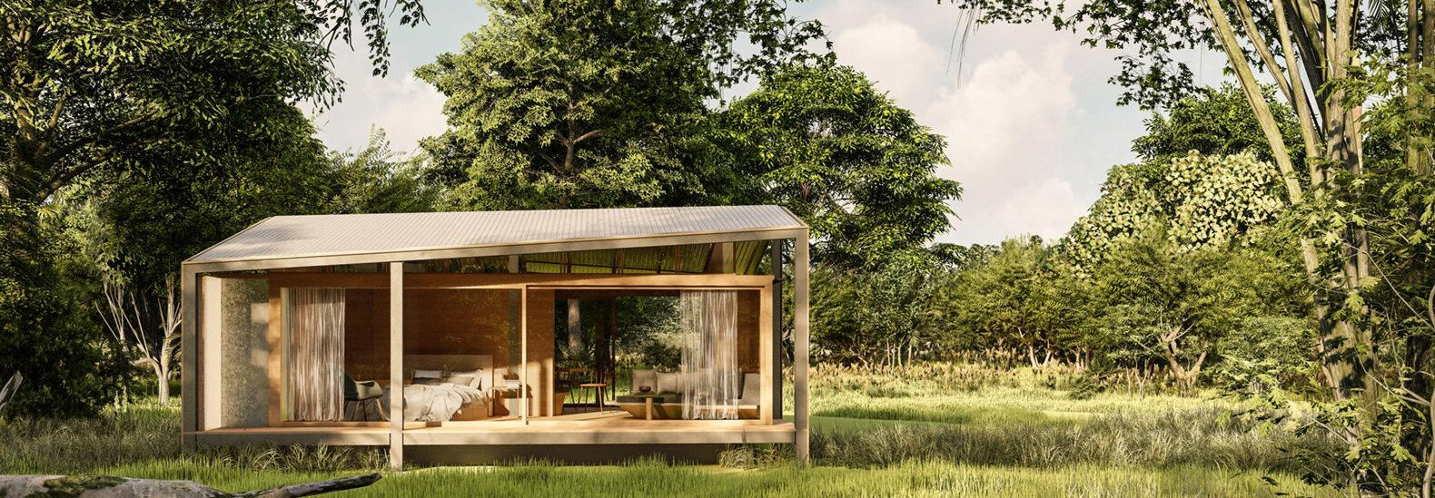 The prefab Tiny Tetra House in Bali is made of recycled waste