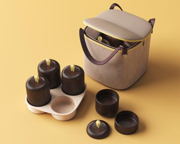 brown food containers next to tan bag