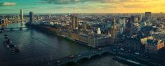aerial view of London and the River Thames at sunset