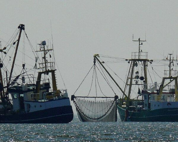 two large fishing boats on ocean waters