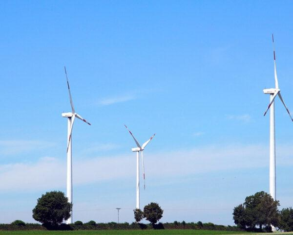 wind turbines in hilly landscape