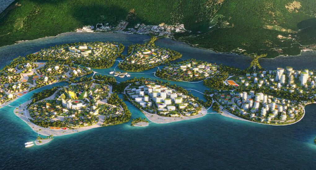 aerial rendering of futuristic buildings on several green islands