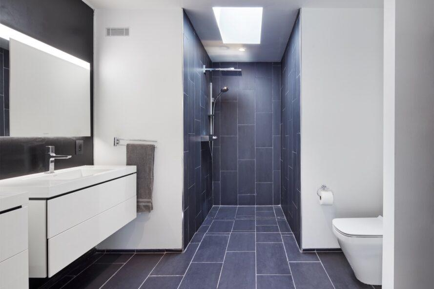 bathroom with white walls and black tiles