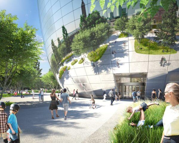 rendering of people walking toward bowl-shaped mirrored building