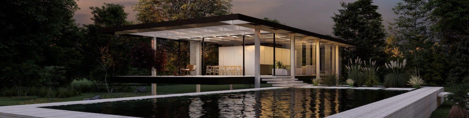 rendering of Farnsworth House made of cross-laminated timber with a natural pool onsite
