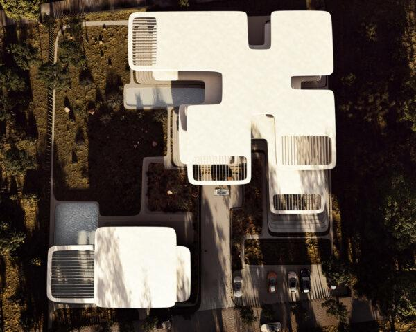 aerial rendering of large home and guest house all with cantilevered terraces