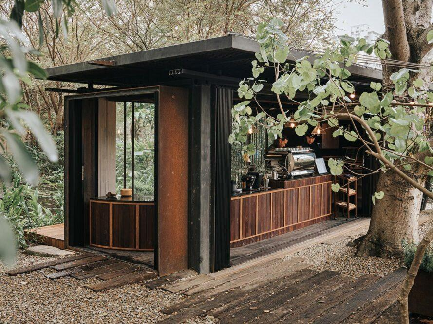 cafe inside a metal shipping container