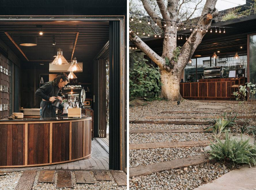 wood counters for baristas inside shipping container coffee shop