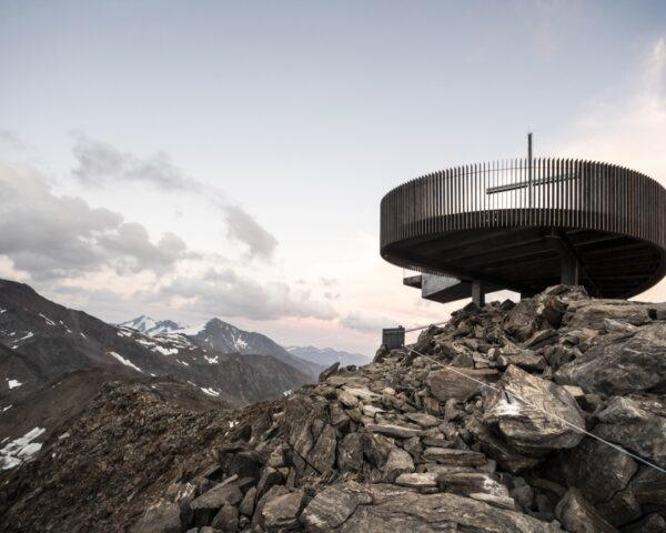 round observation deck on rocky cliff