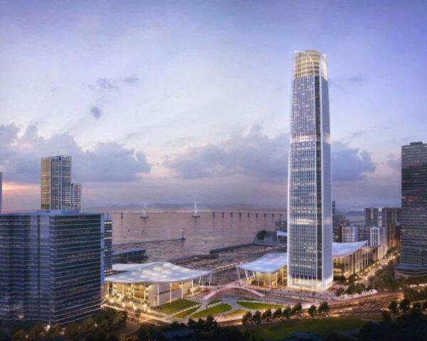 rendering of skyscraper in a city