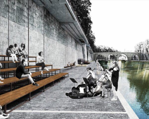 rendering of people playing music to crowd sitting on benches near a river
