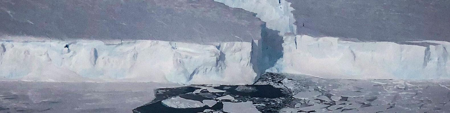 New sea ice forms in a rift created when the B-46 iceberg broke off from Pine Island Glacier