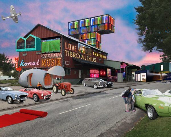 rendering of gabled building covered in neon signs