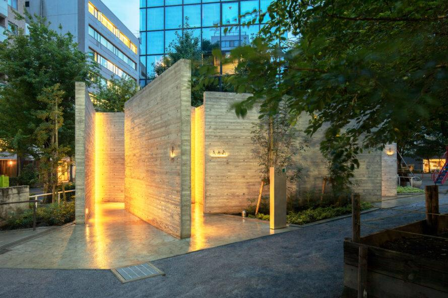 stone walls lit up with yellow lights