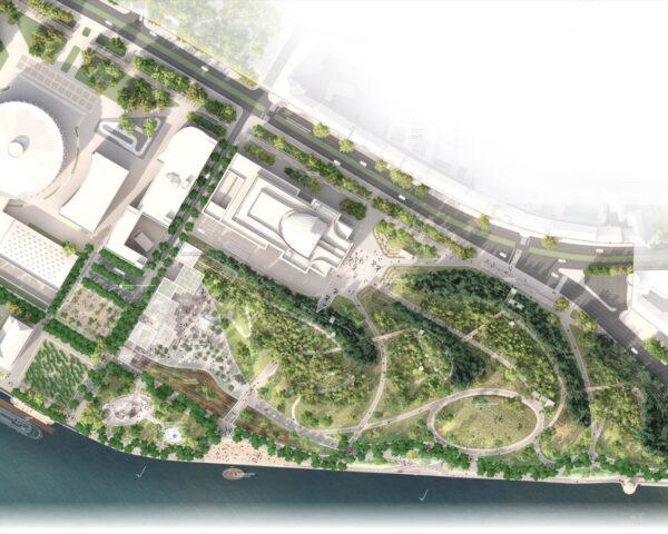 aerial rendering of waterfront park