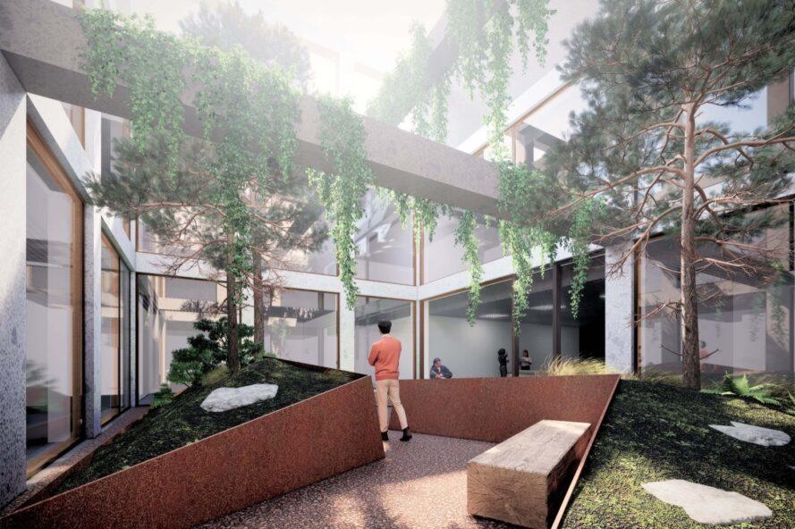 rendering of trees and vines growing in a courtyard