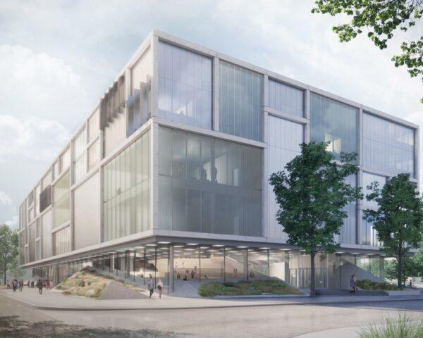 rendering of glass rectangular building