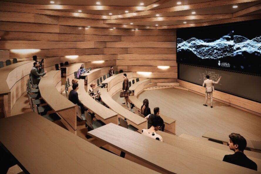 rendering of classroom auditorium with wood desks arranged in a semi-circle
