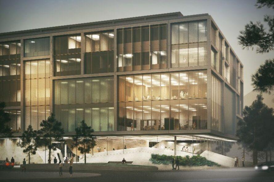 rendering of glass rectangular building lit from within at night