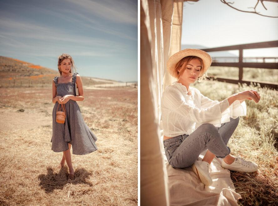 On the left, person in gray dress in the desert. On the right, person in white blouse and jeans in a shady spot.