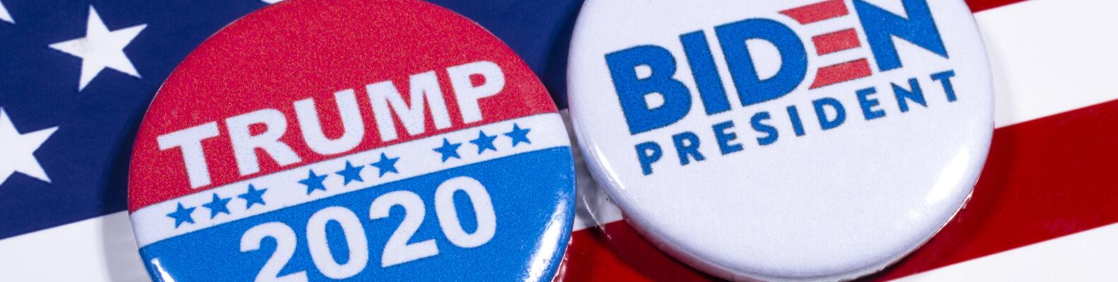 Biden for President button and Trump 2020 button on American flag background