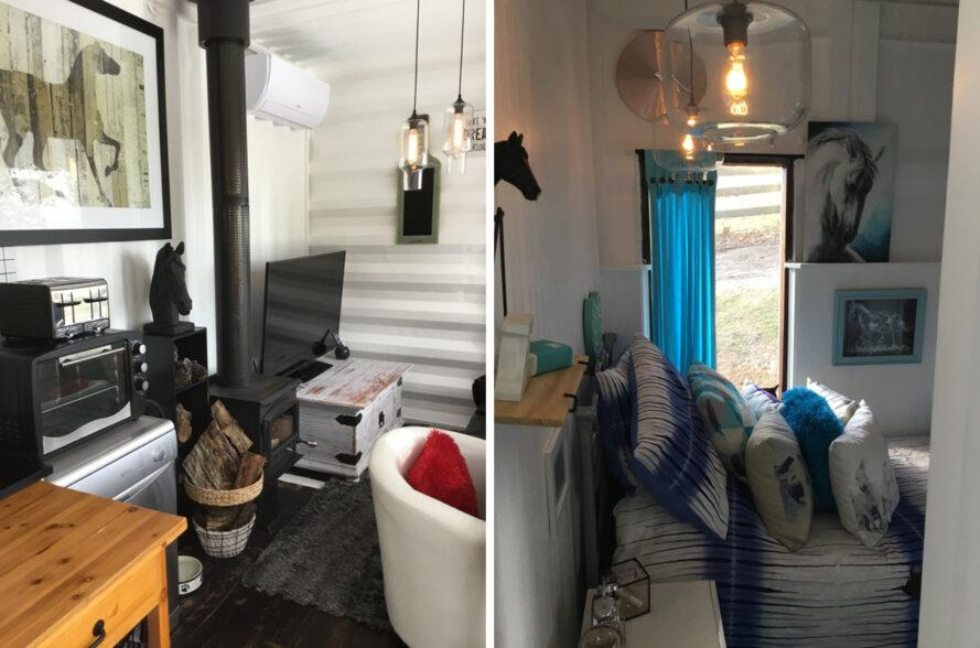 On the left, white chair in small living area. On the right, blue and white bedroom.