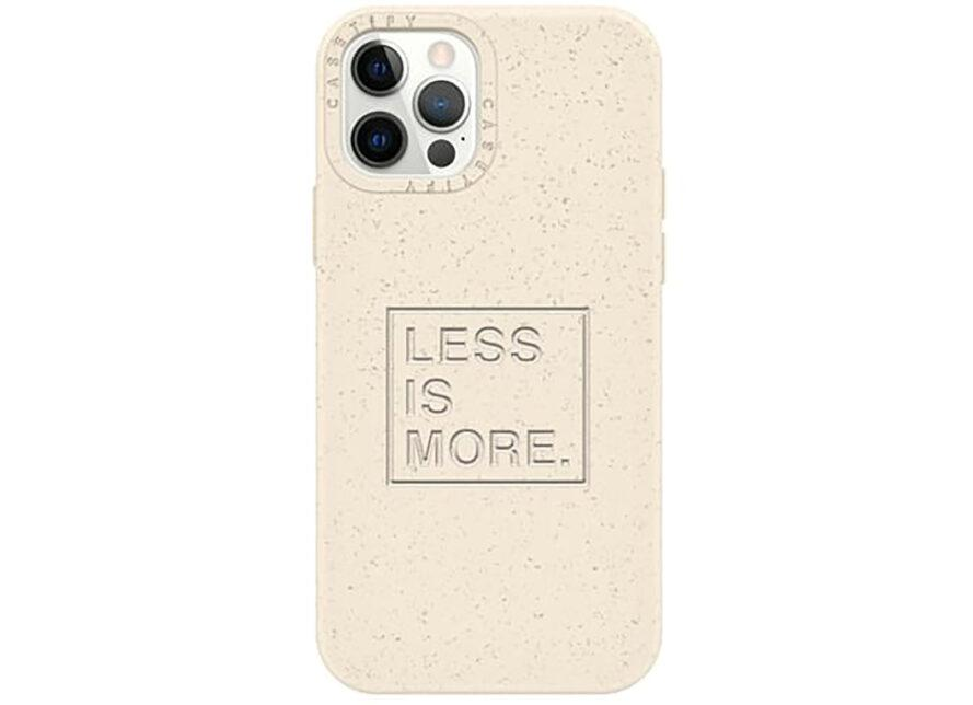 """A cream colored phone case reading """"Less is more."""""""