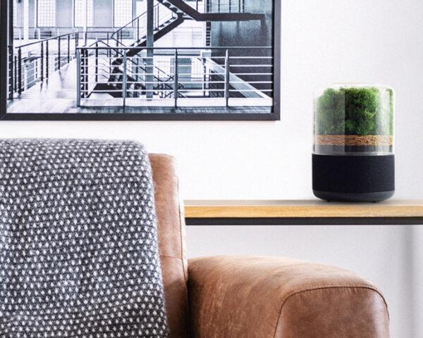 small air purifier on wood table beside leather couch
